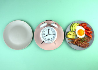 Intermittent fasting concept with empty colorful plates. Time to lose weight , eating control or time to diet concept.