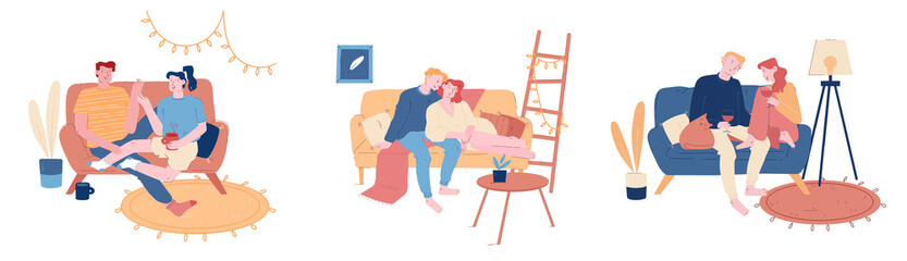 Loving Couples Set. Young Heterosexual People in Love Spend Time Together, Man and Woman Hugging on Couch, Drink Wine and Tea at Home Interior. Romance Cartoon Flat Vector Illustration, Line Art