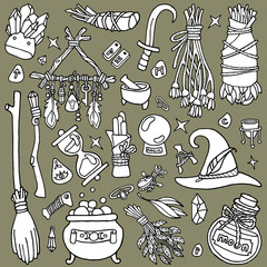 Witchcraft. Wicca and pagan tradition. Magical items. Hand drawn elements: witch's broom, magic wand, dreamcatcher, candles, mortar, elixirs, etc. Occult Symbols. Stock illustration.