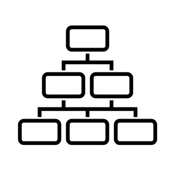 Organization pyramid. Management, company structure. Vector icon.