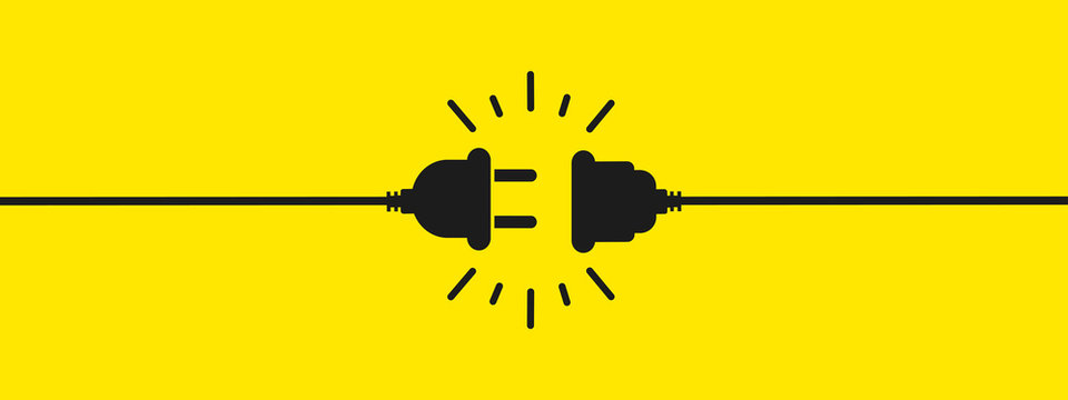 Electric socket with a plug. Connection and disconnection concept. Concept of 404 error connection, page not found. Electric plug and outlet socket unplugged. Wire, cable of energy disconnect – vector