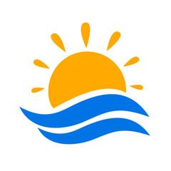 Seascape, blue sea and sun, wave, summer sign – vector