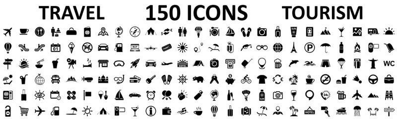 Travel and tourism set 150 icons, vocation signs for web development apps, websites, infographics, design elements – stock vector