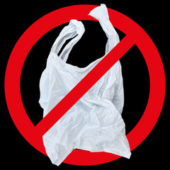 one white plastic bag with red forbidden sign isolated on black