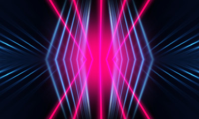 Wall Mural - Dark neon background with lines and rays. Blue and pink neon. Abstract futuristic background. Night scene with neon, light reflection.