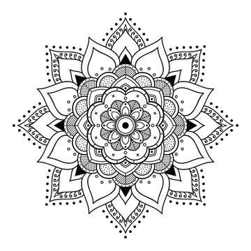 Mandala for coloring book. Arabic, Pakistan, Moroccan, Turkish, Indian, Spain motifs
