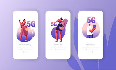 5g Network Wireless Technology Mobile App Page Onboard Screen Set. Characters with Gadgets Use High-speed Internet for Digital Devices Concept for Website or Web Page, Cartoon Flat Vector Illustration