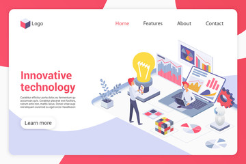 Innovative technology isometric landing page vector template. Male programmers faceless characters. Programming, software development, technological breakthrough web banner homepage design layout
