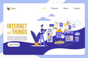 Internet of things landing page vector template. Male programmer, software developer faceless character. Innovative technology, smart city, high tech web banner homepage design layout