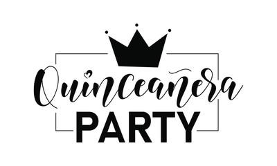 Quinceanera party lettering sign. Teenager girl birthday celebration calligraphy. Black text isolated on white background. Vector stock illustration.