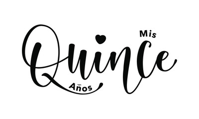Miss Quince. Lettering for Quinceanera party. Teenager girl birthday celebration calligraphy. Black text isolated on white background. Vector stock illustration.