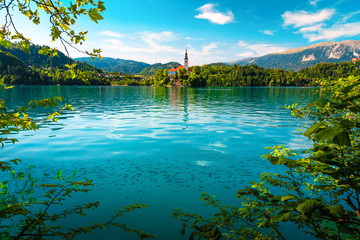 Wall Mural - Breathtaking view with Pilgrimage church and lake Bled, Slovenia