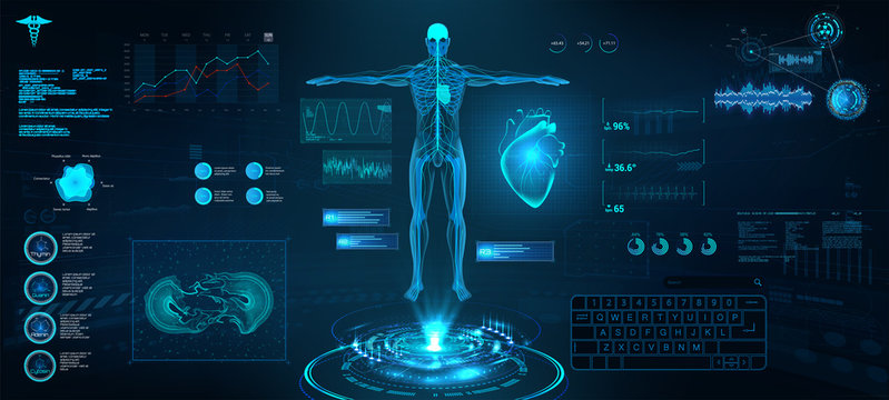 Modern medical examination in HUD style. Scan of the heart and its indicators in HUD style. Ultrasound and cardiogram. Innovation medical interface with illustration of Heart Scan and Human Body.