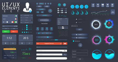 Big set UI, UX, KIT for web design and mobile app with different buttons, icons, charts, bars, menu, search, tabs and other. Template for websites and applications. UI vector elements in Flat style.