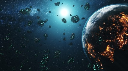 Meteor shower flying through solar system to Earth. Asteroid rock collision. Realistic Planet globe and Sun on background. 3d render animation. Science concept. Element of this media furnished by NASA