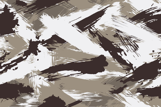 Seamless winter camouflage in the form of dirt. Made from strokes of paint and stylized as the concept of a military seamless pattern. Vector illustration