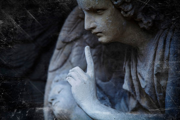 Fototapete - Retro styled an ancient statue of an angel as symbol of end of life. Horizontal image.