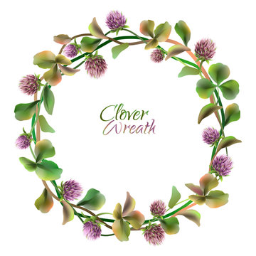 Clover wreath. Floral round frame. Vector illustration.
