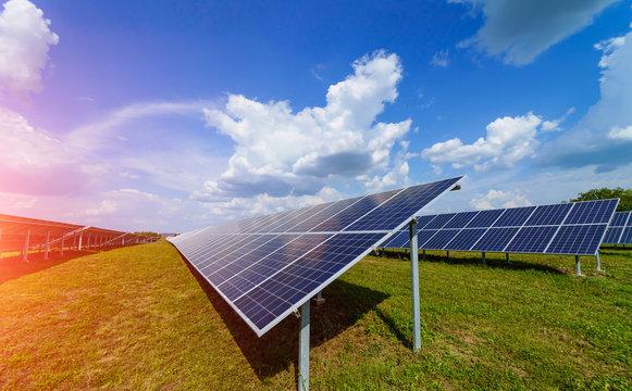 Solar power panel. Green energy. Electricity. Power energy panels. Solar batteries production.
