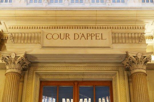 Fronton de la première chambre de la Cour d'Appel du Palais de Justice de Paris (France)