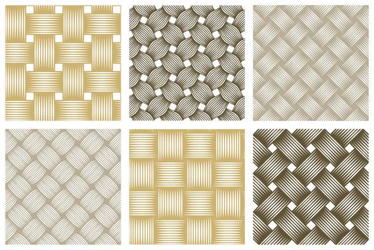 Seamless vector weaving patterns set, linear backgrounds with crossed lines, textile knitted repeat tiling wallpapers, perfect simplistic minimal designs.