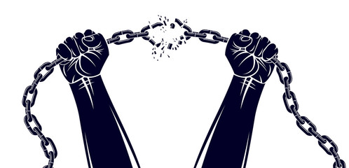 Strong hand clenched fist fighting for freedom against chain slavery theme illustration, vector logo or tattoo, getting free, struggle for liberty.