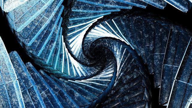 Amazing blue architecture staircase vortex displaying a trippy dmt drug alien entity vortex concept
