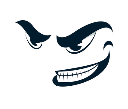 Funny cartoon angry sneering face vector smile illustration isolated on white, facial expression illustration.