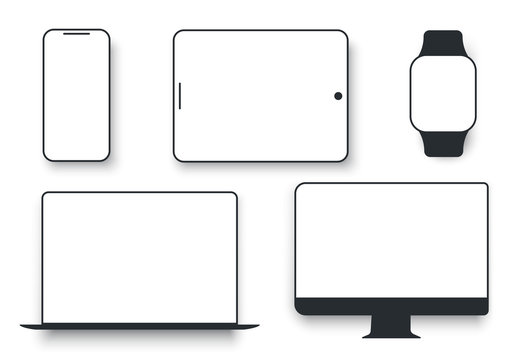 White desktop computer display screen smartphone tablet portable notebook or laptop. Gadgets display to present visual information.  Vector flat style cartoon illustration isolated on white background
