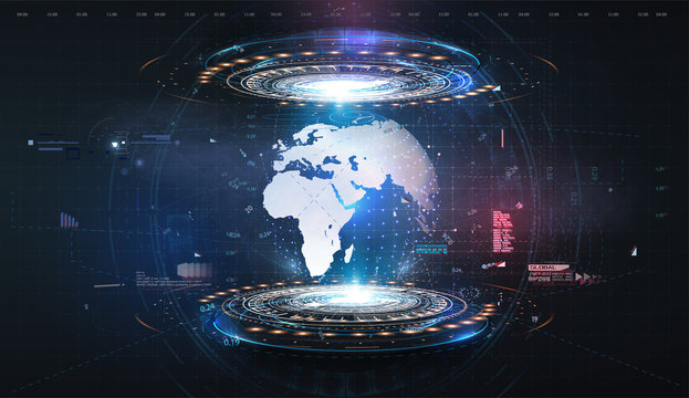 Hologram earth for concept design. Blue futuristic background with planet Earth.  Abstract tech design background. Virtual graphic.Abstract modern background. Science/technology background. HUD/UI/GUI