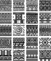 Photo sur Toile Style Boho Set of seamless ethnic tribal pattern