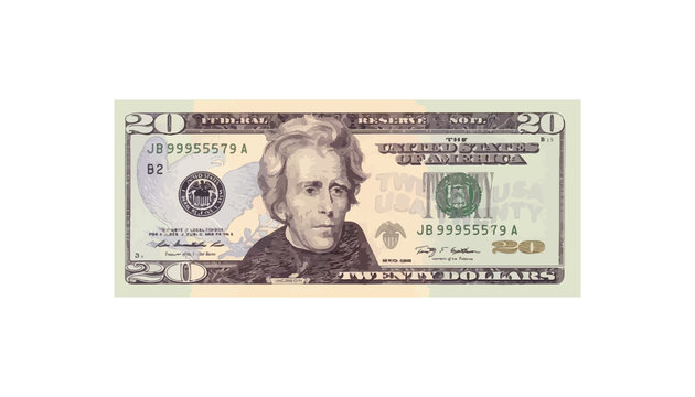 20 Dollars money realistic paper banknotes of USA - vector business art illustration