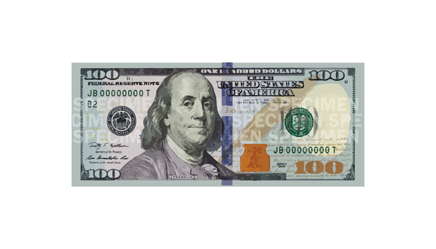 100 Dollars money realistic paper banknotes of USA - vector business art illustration