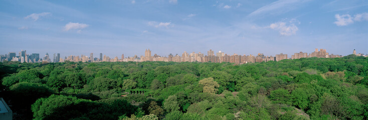 Fototapete - This is an aerial view of Central Park and the Manhattan skyline with the Upper West Side on the right. The green trees of Central Park in the summer are in the foreground.