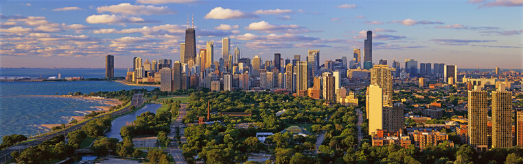 Chicago Skyline, Chicago, Illinois shows amazing architecture in panoramic format