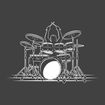 Drummer plays percussion instruments