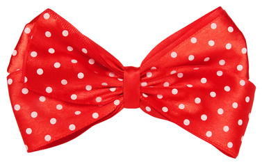 Red dotted bow tie for decoration hair or gift wrap