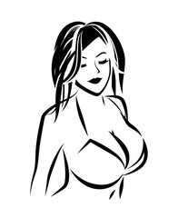 Nude Girl in Swimsuit, Outline vector illustration of Lady in bra for Lingerie shop or Women Breast Surgery clinic.