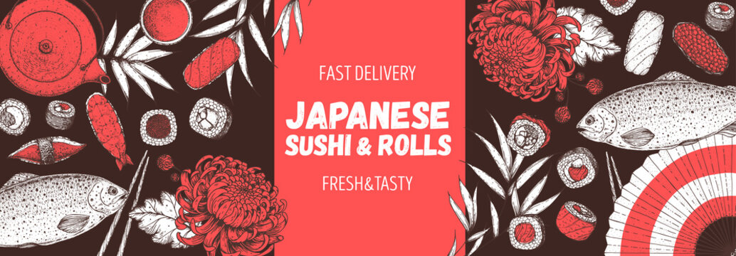 Sushi and rolls vector illustration. Hand drawn sketch. Japanese food menu design. Vintage vector elements for japanese cuisine menu. Retro style design. Food and drink collection.