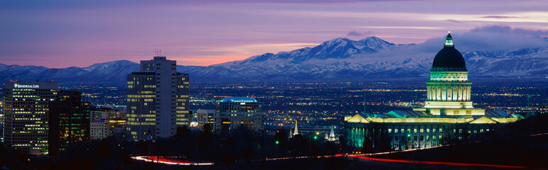Wall Mural - This is the State Capitol, Great Salt Lake and Snow Capped Wasatch Mountains at sunset. It will be the winter Olympic city for the year 2002.