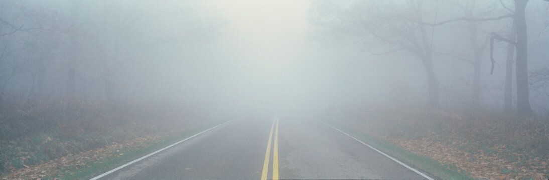This is Fossy Road in a fog.  It signifies hazardous driving conditions as you can only see a few feet of the road and the way ahead is obscured by the fog.