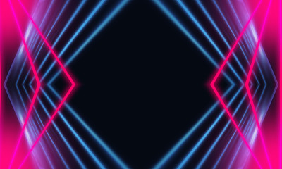 Fotomurales - Dark abstract futuristic background. Neon lines glow. Neon lines, shapes. Multi-colored glow, blurry lights, bokeh. Empty stage background
