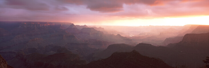 This is the south rim of the Grand Canyon known as Grand View Point.  Also in view is the Colorado River at sunrise. Wall mural