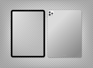 Empty screen realistic new tablet computer mockup design. Modern tablet PC isolated on transparent background. Tablet mockup. Vector Illustration