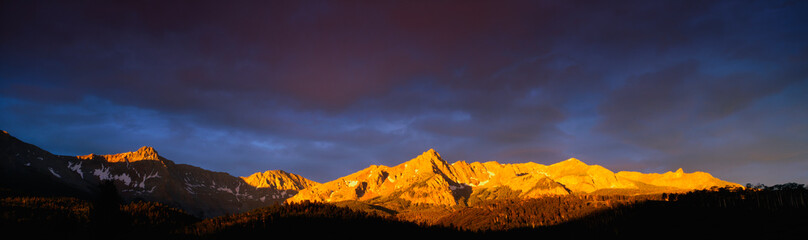 Self adhesive Wall Murals Sunset These are the Sneffel Mountains at sunrise during summer. This is located at the Dallas Divide.