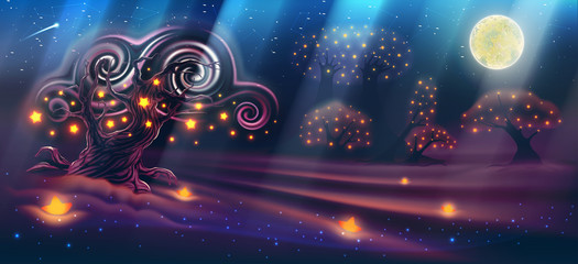 Magic night landscape with fantasy forest, dark trees, moon with light beams, sky with clouds, heaven, glowing stars, evening wonderful nature background as panorama. Vector illustration.