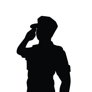 Vector of saluting soldier silhouette vector on white background