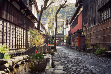 Cobblestone paved alley in Japanese Mountain Town