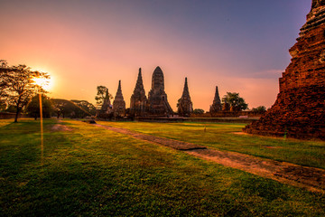 Background of Wat Chai Watthanaram in Phra Nakhon Si Ayutthaya province, tourists are always fond of taking pictures and making merit during holidays in Thailand.
