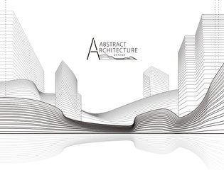 Architecture building construction perspective design, abstract modern urban landscape line drawing.